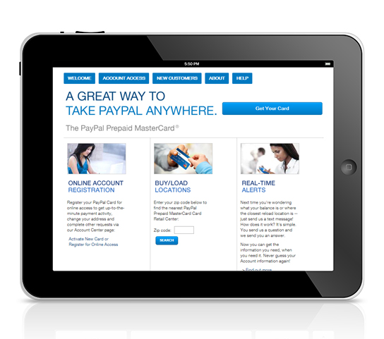 tablet view of paypal site